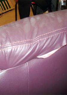 Purple Leather Sofa   This Purple Leather Sofa Before   Leather Repair And  Partial Leather Reupholstering