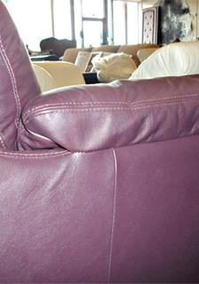 Purple Leather Sofa   This Purple Leather Sofa After Being Partially Leather  Reupholstered With Leather Repairs