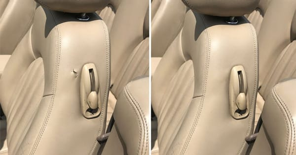 Car seat leather repair, automotive interior restoration