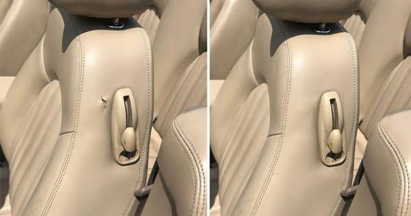 Car seat leather repair, automotive interior restoration