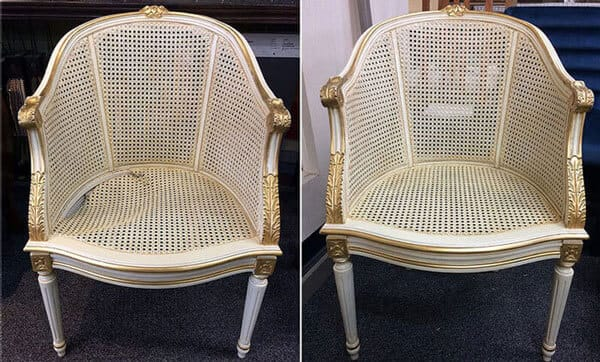 Antique chair seat caning replaced