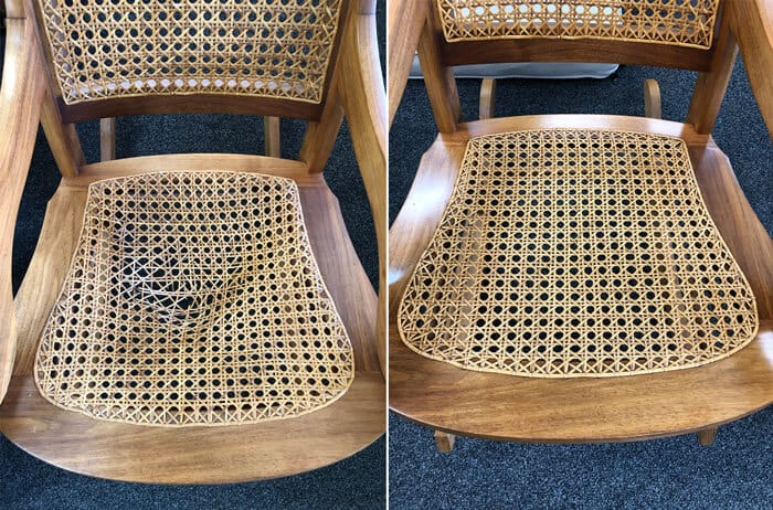 Chair torn caning seat repaired