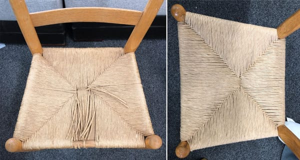 Chair with damaged rush caning repair
