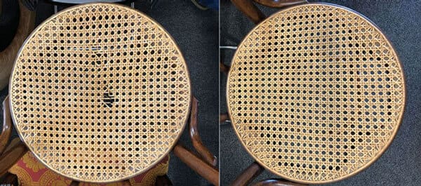 Round chair seat caning repair