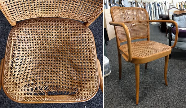 Torn chair seat caning replacement
