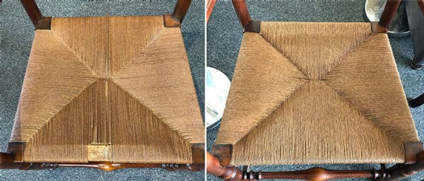 Wooden chair seat caning repair