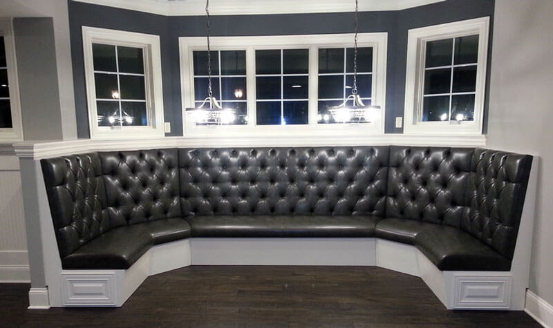 Custom kitchen booth with tufted backs