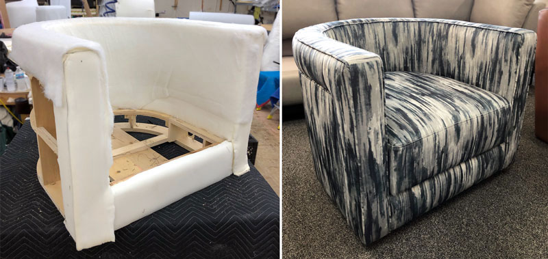 Custom made chair with fabric upholstery
