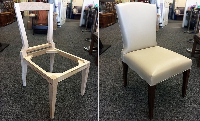 Custom made dining chair with grey leather upholstery
