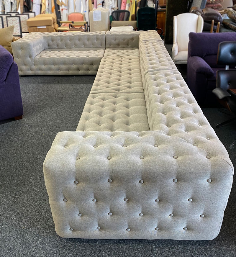 Custom made sectional with tufted seat and back
