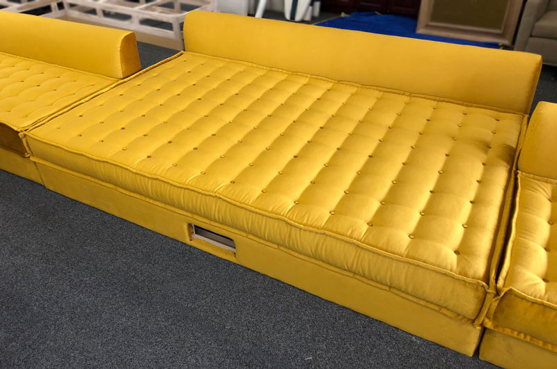 Yellow tufted custom made bed