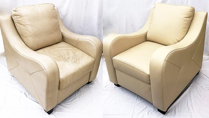 Beige leather chair color restored