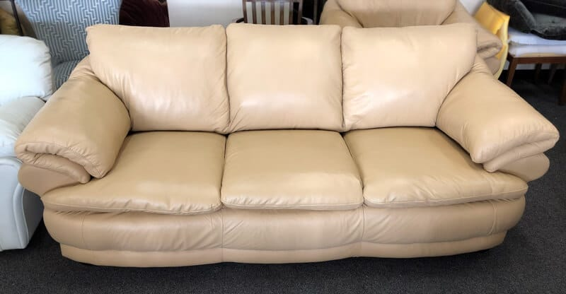 Beige leather sofa cleaned restored color and conditioned