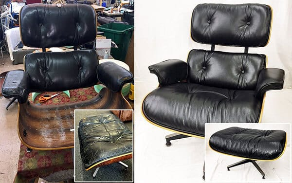 Black leather chair and ottaman repairand upholstery