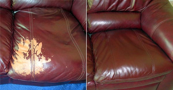 Brown leather seat cushion restored