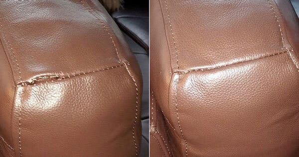 Brown leather sofa back cushion seam seaparation repair