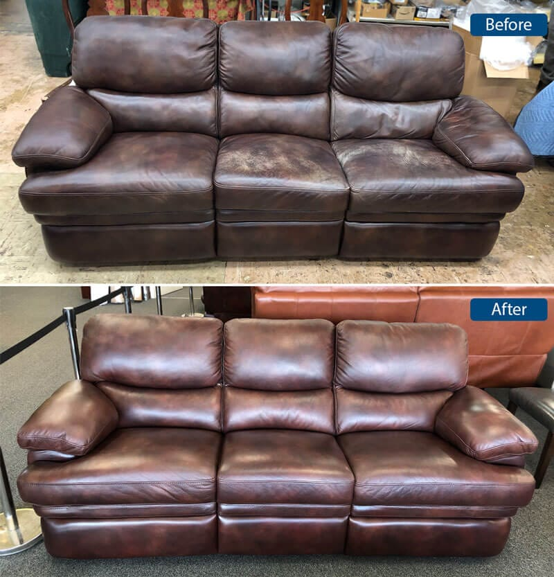 Brown sofa leather color restoration