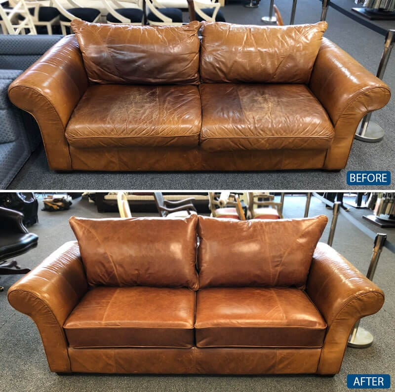 Brown leather loveseat repair and leather restoration