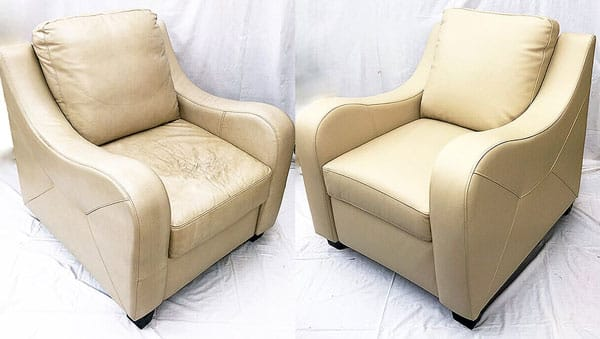 Leather beige chair color restoration