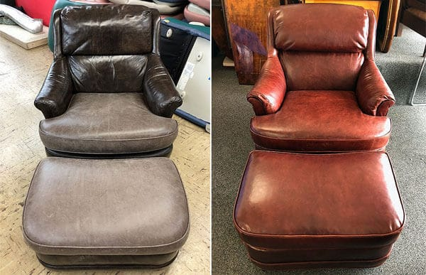 Leather chair and ottaman color restoration