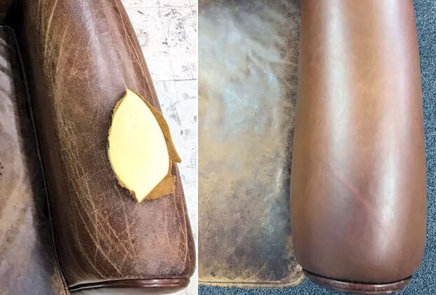 Leather chair armrest reupholstery