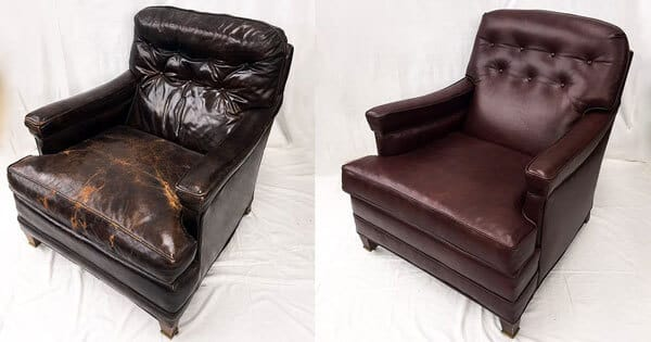 Leather chair repaired and restored to its original color