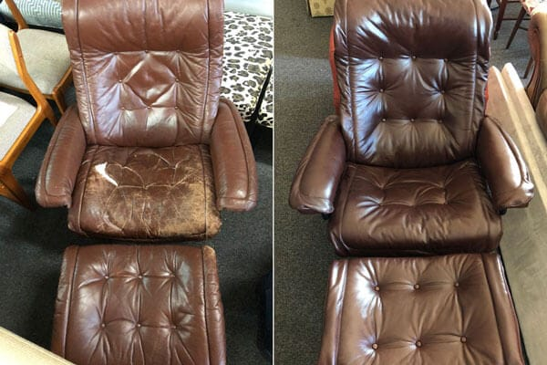 Leather chair with ottaman reupholstered