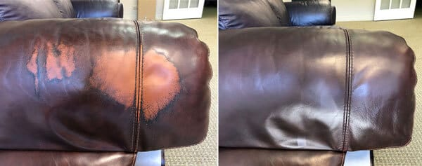 Leather recliner backrest restoration
