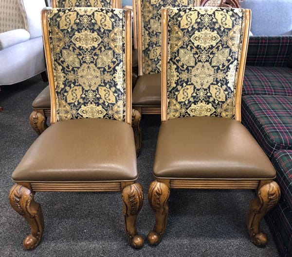Antique chair seats reupholstered with leather