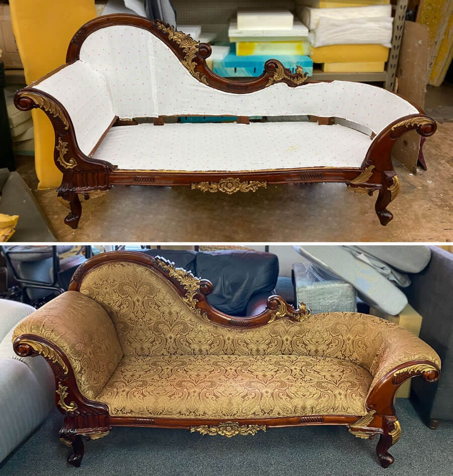 Antique sofa reupholstered with fabric