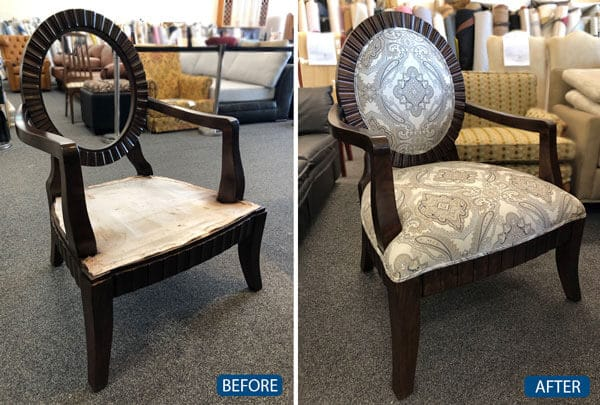 Chair foam replacement in seat and back reupholstered with fabric