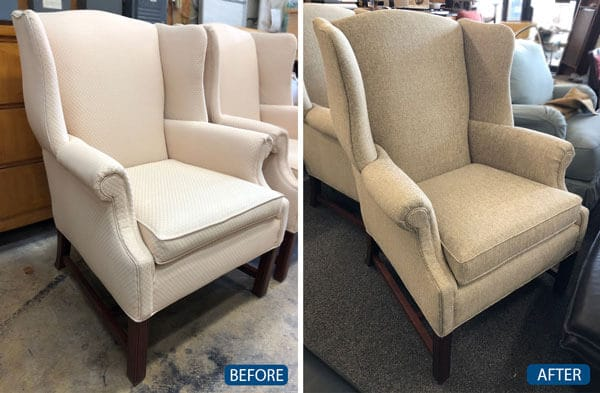 Chair reupholstered with beige fabric