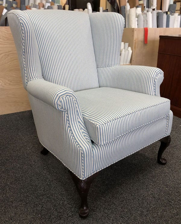 Chair reupholstered with fabric