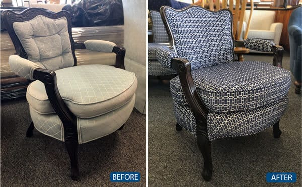 Chair reupholstery and caned back replaced with fabric