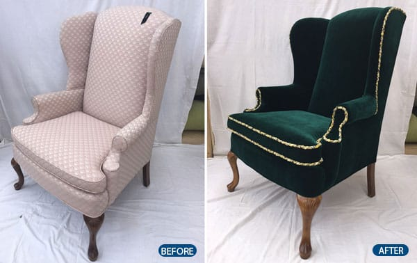 Chair reupholstered in fabric with decorative welting