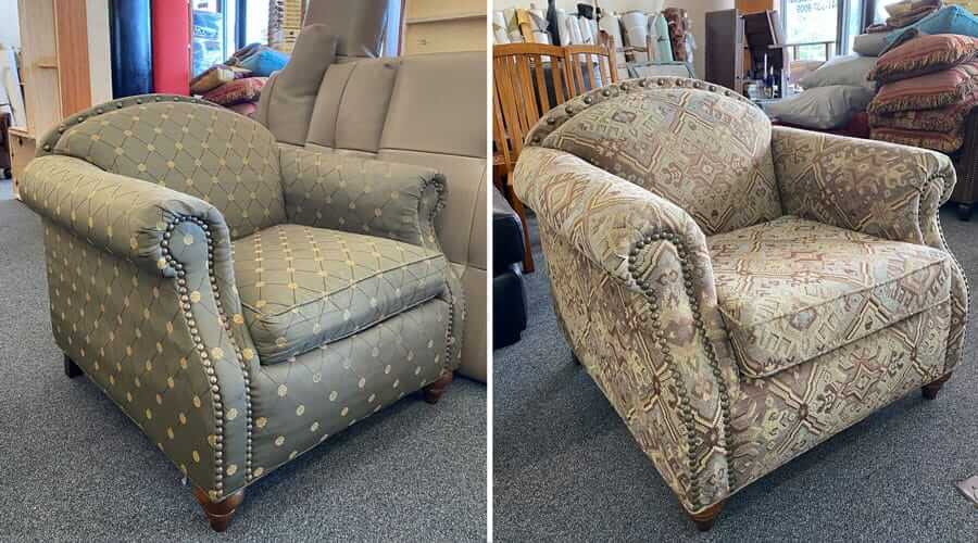 Chair reupholstered with fabric and decorated with nailheads