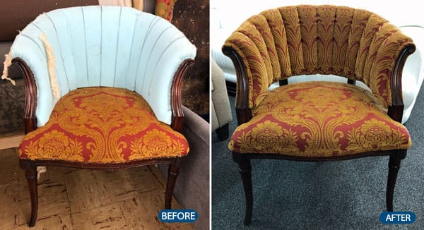 Chair seat and back reupholstery with durable fabric