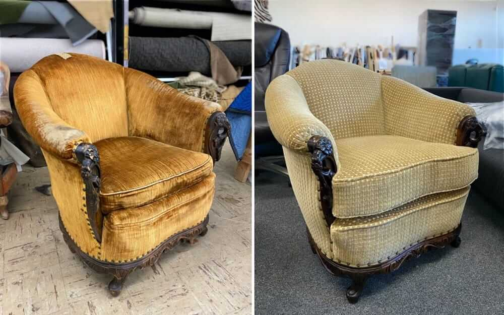 Chair upholstery with fabric and replaced foam