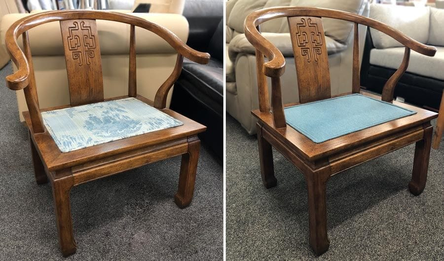 Chair with fabric insert and decorative welting