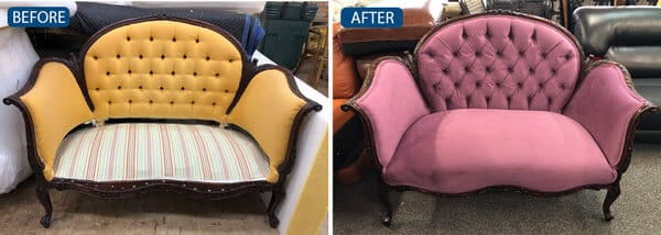 Loveseat reupholstered with fabric and tufted back