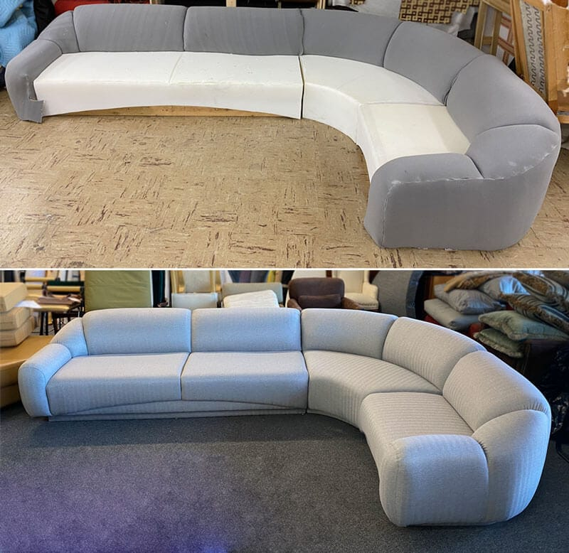 Sectional reupholstered with grey fabric