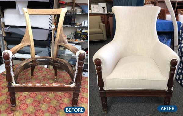 Wooden chair repaired and upholstered from bare frame
