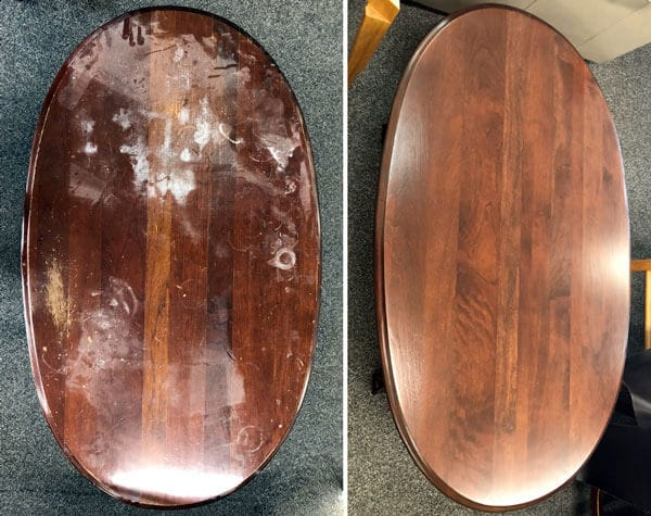 Oval tabletop refinished