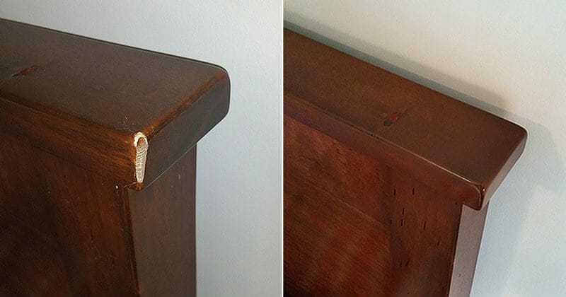 Real wood headboard scratched top corner repair
