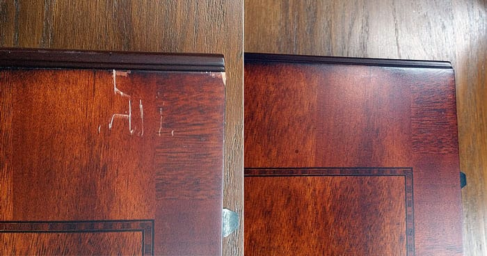 Wooden table scratch repair