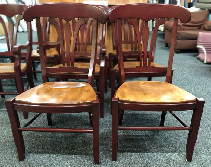 Two refinished wooden chairs