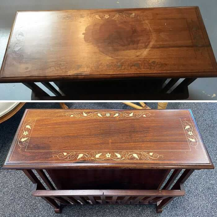Wood repair and side table top refinishing