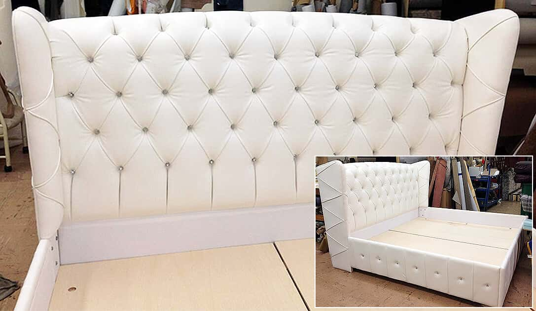 Custom made bed with headboard.