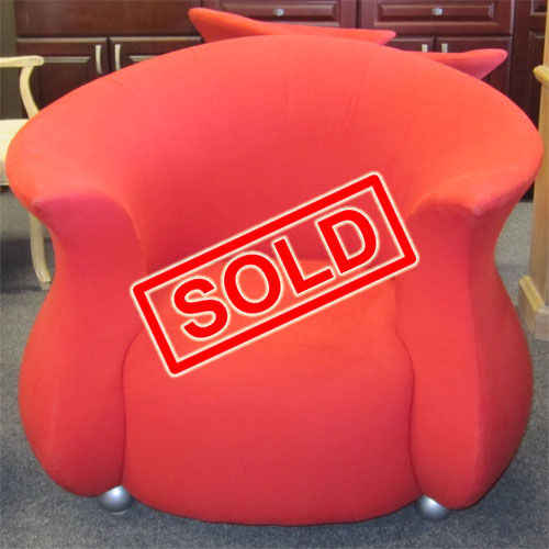 Exotic red sofa with two chairs